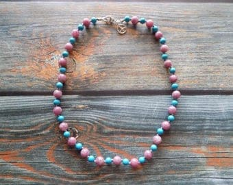 """17.5"""" Lepidolite and Turquoise Healing Gemstone Necklace Knotted on Nylon with Sterling Silver, Healing Crystals, Infused with Intention"""