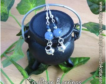 Cauldron earrings, Wicca earrings, Pagan earrings, Ostara earrings, Witch accessories, Pagan jewellery