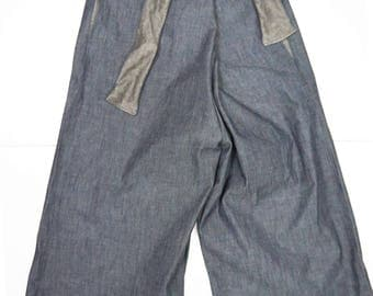 wide linen trousers with laces