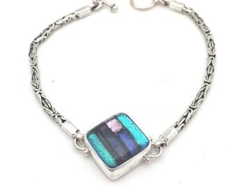 Vibrant Cool Color Dichroic Glass Toggle Bracelet