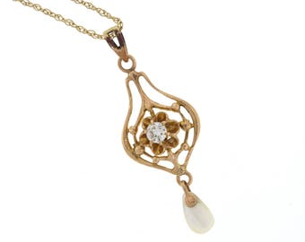 Edwardian Diamond Pendant, Antique Yellow Gold Pearl Lavalier Pendant, Vintage Necklace