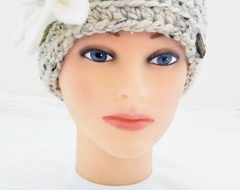 Woman Messy Bun Hat with Felted Flower