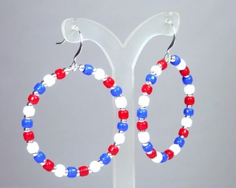 Red White and Blue Hoop Earrings - Hoop Dangle Earrings - Patriotic Earrings - Memory Wire - Seed Bead Earrings - Dangle Hoops - Medium Hoop