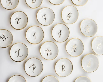 NEW Initial Calligraphy ceramic Round Ring Dish in white adorned with 22K gold edges