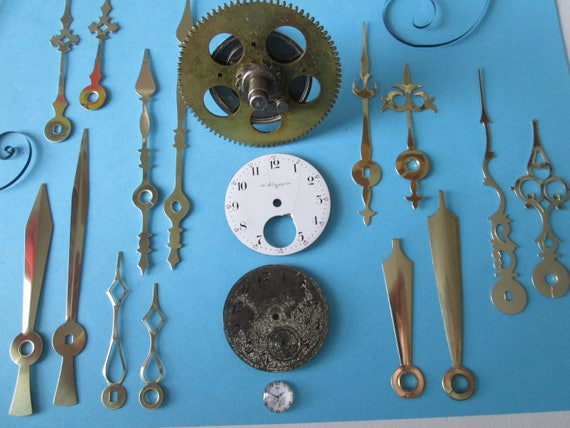 Lot 9 Steampunk Art Goodies - 1 Large Antique Solid Brass and Steel Clock Gear, 2 Pocket Watch Dials and 7 pairs of Assorted New Clock Hands