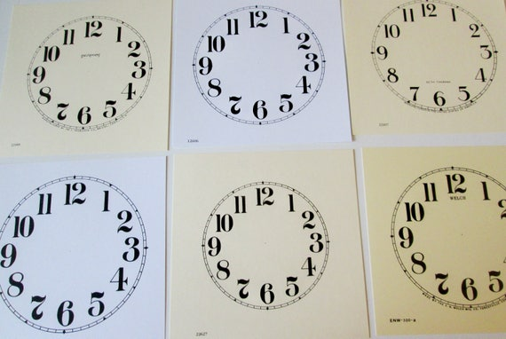 Lot 4.       6 Assorted Heavy Paper Reproduuction Clock Dials for your Antqiue/ Vintage / New  Clock Projects - Art Projects - Steampunk Art