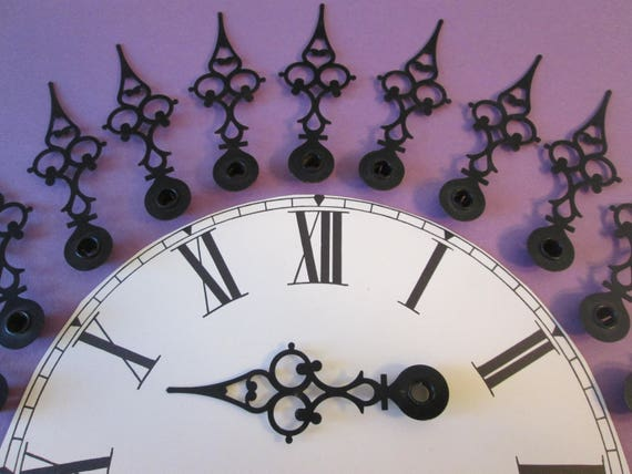 """12 Large 3 3/4"""" Vintage Painted Solid Brass Serpentine Design Clock Hour Hands for your Clock Projects, Steampunk Art, Jewelry Making"""