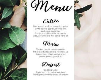 Elegant Monochrome Menu Cards x 50 | Wedding Menu | Dinner Party Menu Card | Printed Menu | Black and White Wedding