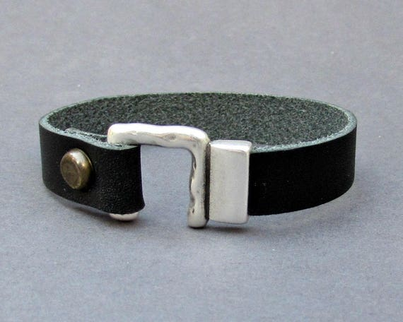 Hammered Mens Bracelet Mens Leather bracelet Cuff Customized On Your Wrist