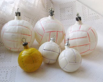 Set of 6 Vintage Soviet Christmas white ball tree decorations, soccer football Glass Ornament, Christmas decor, Retro Tree decoration