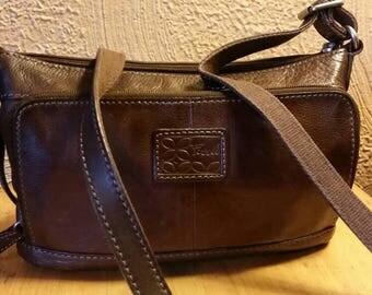 Vintage Fossil leather satchel, crossbody, handbag, messenger purse.