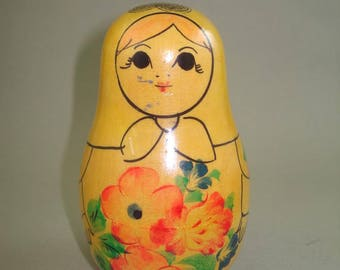 Beautiful Vintage old  Russian wooden doll, Roly Poly Doll, Nevalyashka, Hand Painted doll USSR
