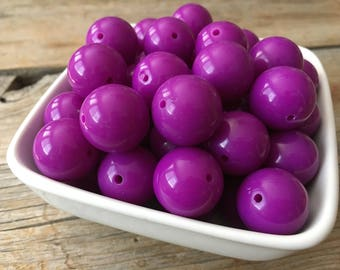 20mm Bright Purple Solid Chunky Bead, Bubblegum Bead, Acrylic Bead, DIY Chunky Necklace, 10 Count