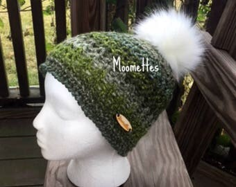 Handmade Faux Fur Pom Pom Beanie Green Teal Nomadic Nordic Hat Wood Button Crochet