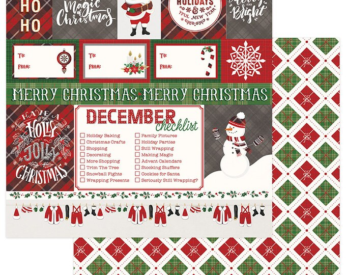 2 Sheets of Photo Play MAD 4 PLAID CHRISTMAS 12x12 Scrapbook Cardstock Paper - Ho Ho Ho