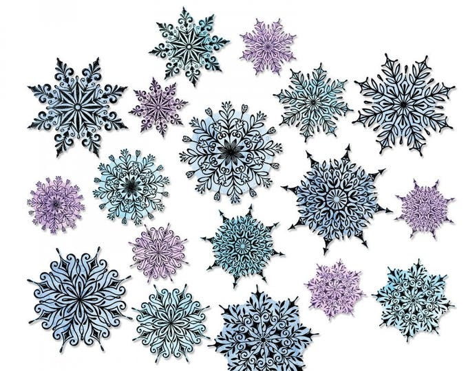 New! Sizzix Tim Holtz Framelits Die Set 18PK - Swirly Snowflakes 662436 (stamps not included)