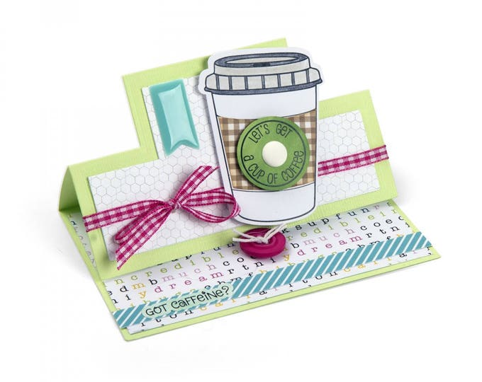 New! Sizzix Framelits Die Set 7PK w/Stamps - Coffee by Stephanie Barnard 662470