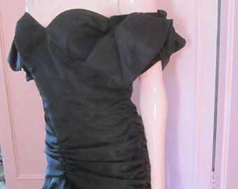 "1980s Black Taffeta Gown with Ruching and Ruffles by ""ZUM ZUM,"" Size 8"