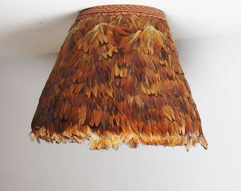 Small Pheasant Feather Lamp Shade Cover Vintage