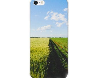 iPhone 5/5s/Se, 6/6s, 6/6s Plus Case - Red Silo Original Art - Green Wheat & Beans