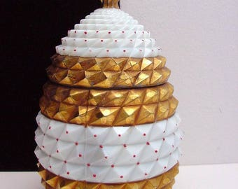 antique milk glass jar, pot, in the shape of a pineapple