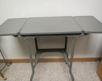 Elegant Interstate Typewriter Table With Drop Leaf Sides , Metal Typewriter Stand ,  Drop Leaf Table Mid