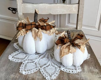 Sweater pumpkins set of 2 off white/cream fabric pumpkins white pumpkins farmhouse style falldecor