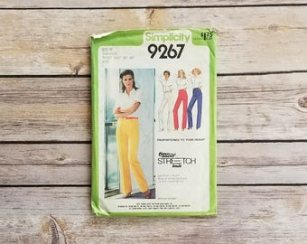 High Waisted Pants 70s Power Suit Simplicity 9267 Womens Size 12 Pants Straight Leg Pants Perfect For Stretch Fabrics Vintage Business Wear