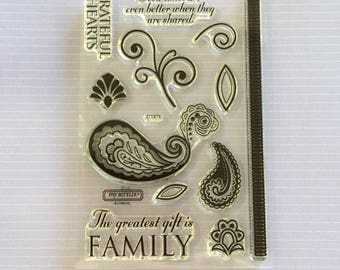 Close to my heart, My acrylix stamp set, everyday life, NEW, in plastic case, assorted sayings, family, grateful, good times, scrapbooking