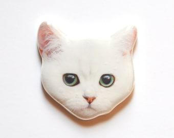 Brooch girly white cat; kawaii cat print jewelry gift