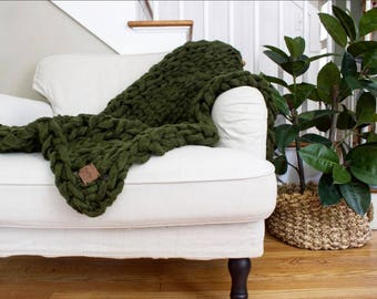"SALE! // Chunky Knit Blanket // Chunky Knit Throw //  36"" x 60"" // Simply Maggie"