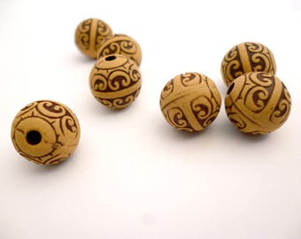 Brown Round Hole Resin Beads_NC5400/65287_Resin Decorative Beads of 11 mm hole 2 mm _ pack 8 pcs