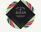 100 Napkins For Graduation, Class Of 2018, Napkin And Foil Color Options Available - See Thumbnail Images For More Designs