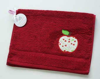 Personalized towel for kid, Towel with Apple applique and name, Small hand towel