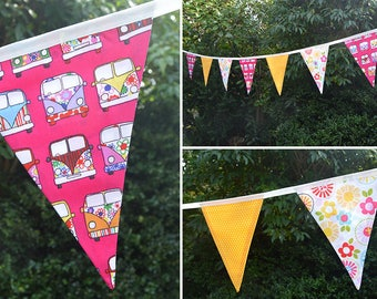 Handmade Fabric Bunting Cerise Camper Van/Colourful Floral & Yellow/White Dots Design 12 Double-Sided Large Flags for Home and more!