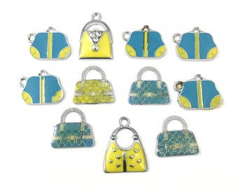 11 handbag enamel and silver tone / 22mm to 25mm #Ch 415