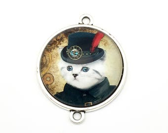1 steampunk gentleman cat glass connector bronze tone,30mm # CON 333