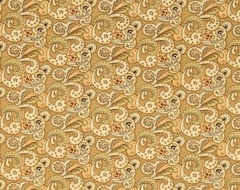 Floral Fabric by the Yard, Quilting, Reproduction, Cotton, Paisley, Small Print, fleur de lis, Gold, Cream, Birds of a Feather, Decor