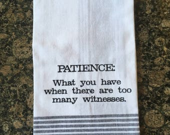 Patience Tea Towel (Black Stripe)