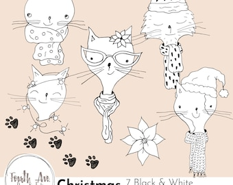 Christmas Cats Clipart, Christmas Kitties Clipart, Winter, Hand Drawn, Quirky, Holiday, Christmas, Black and White, DIY Invitation