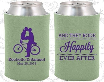 And They Rode Happily ever After, Personalized Wedding Favors, Southern Wedding Favors, Bicycle, Wedding Coolie (201)