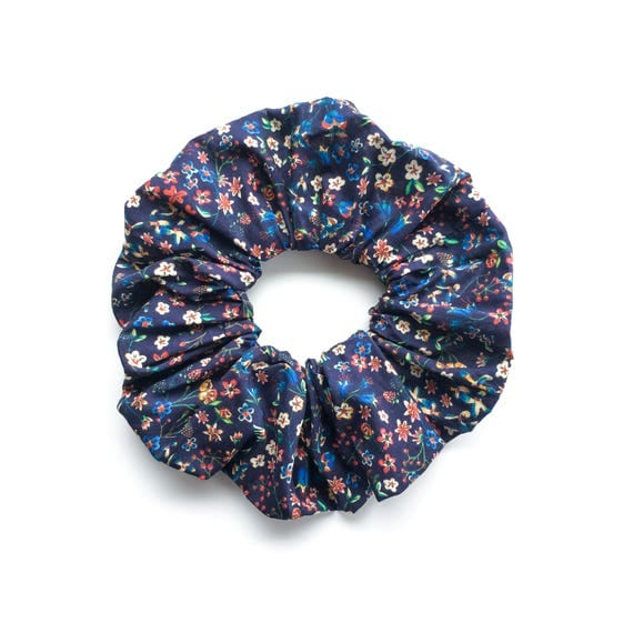 TINY FLOWERS  .Blue floral Scrunchy or Scrunchie. Women Hair Accessories. Retro Accessory. Small flower pattern