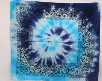 Tie Dye Bandana, Trippy Blue handkerchief, OOAK Hippie Fashion