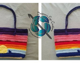 Beach tote, crochet tote, sunset tote