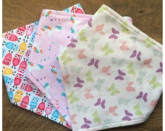 Bandana Dribble Bibs, Girls Dribble Bibs, Baby Gift set, Baby Gift, Butterflies,Unicorns & Owls