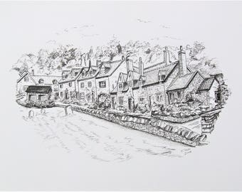 Caren Taylor *ORIGINAL* Pen and Ink Artwork **Snowshill The Cotswolds** UK A beautiful little hidden gem of a village that I love to visit