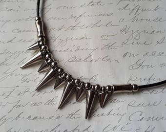 Black leather silver spike necklace