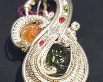 Hessonite Garnet, Moldavite, Spinel, Tanzenite, and Chrome Diopside Pendant