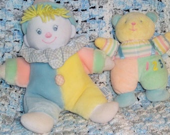 EDEN Pastel Plush Musical Clown Plays You are my Sunshine and 123 Stripe Bear Baby Rattle