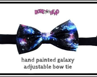 GALAXY BOW TIE - hand painted, black satin/poly-silk, adjustable, easy hook - adult and toddler/child sizes